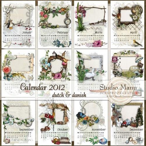 Винтажный календарь на 2012 год