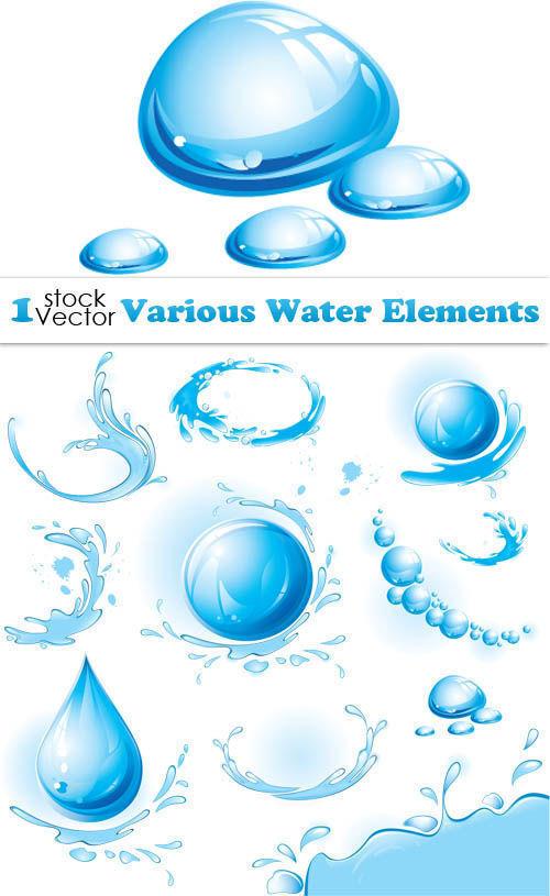 Водяные элементы в векторе. Various water elements