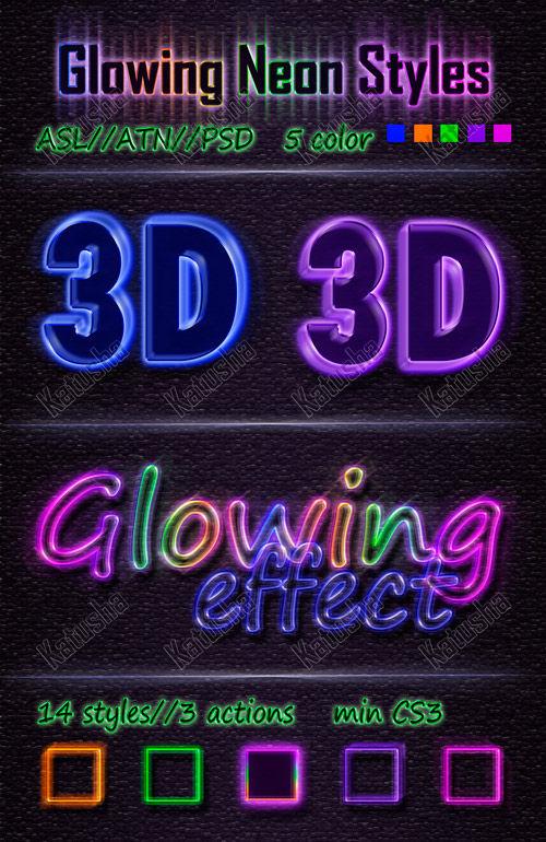 Clowing neon styles for photoshop. Неоновые стили для фотошопа