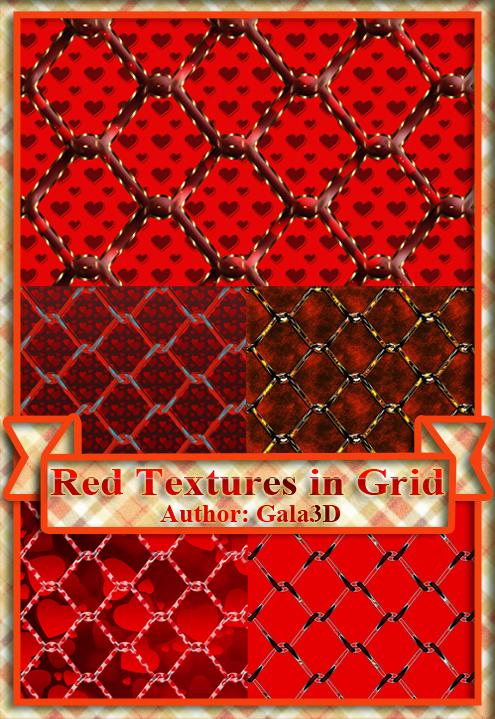 Red textures in grid. Красные текстуры в сетку