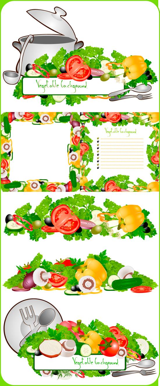 Овощные рамки и бордюры в векторе
