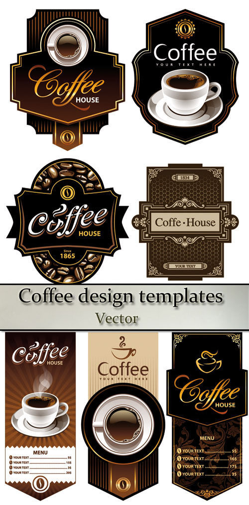 Stock vector: Coffee design templates