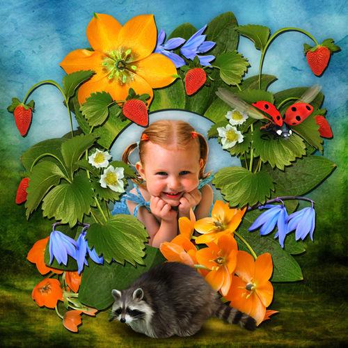 Очаровательная детская цветочная рамка для оформления фотографий