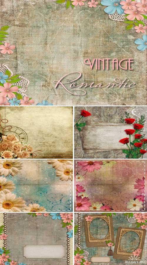 Набор высококачественных винтажных фонов с цветами