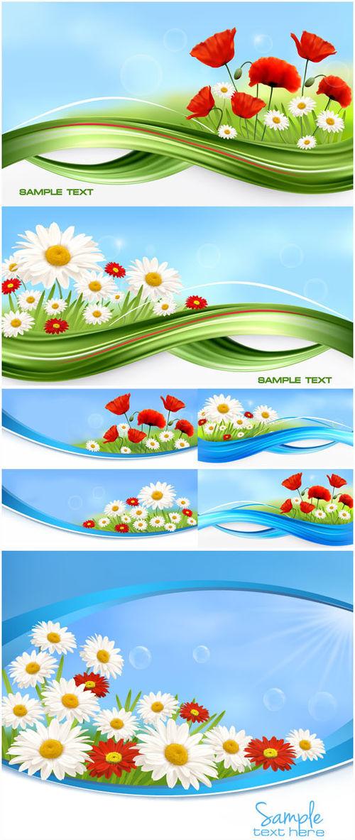 Цветочные баннеры в векторе. Vector flower banners