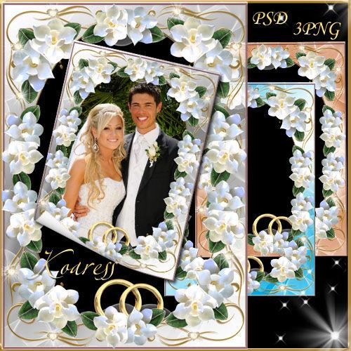 Свадебная рамка для фото - Чистые, нежные, белые цветы