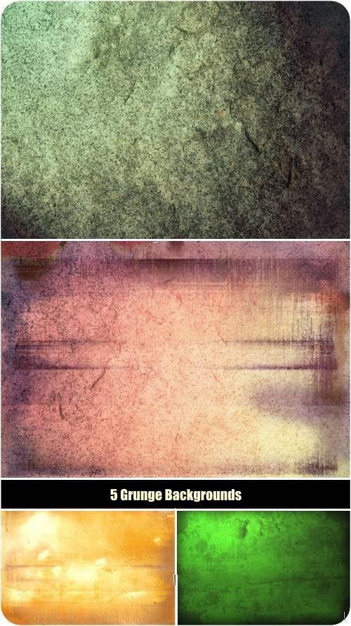 Набор гранжевых текстур пяти оттенков. 5 Grunge backgrounds