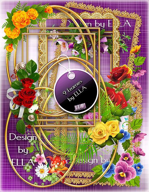 Набор из 9-ти высококачественных и роскошных золотых рамок-вырезов с цветоч ...