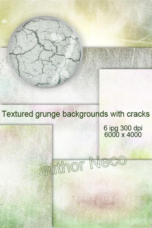Текстурированные гранжевые фоны с трещинами - Textured grunge backgrounds w ...