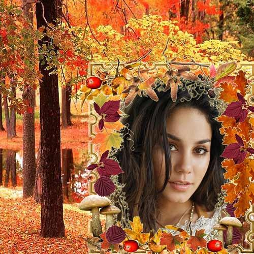 Женская  рамка Расплескалась грусть в золоте осени