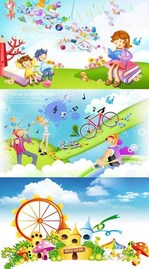 Детские многослойные PSD Кончилось лето