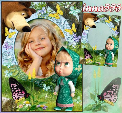 Детская рамка с Машей – Люблю в лесу гулять с Мишей