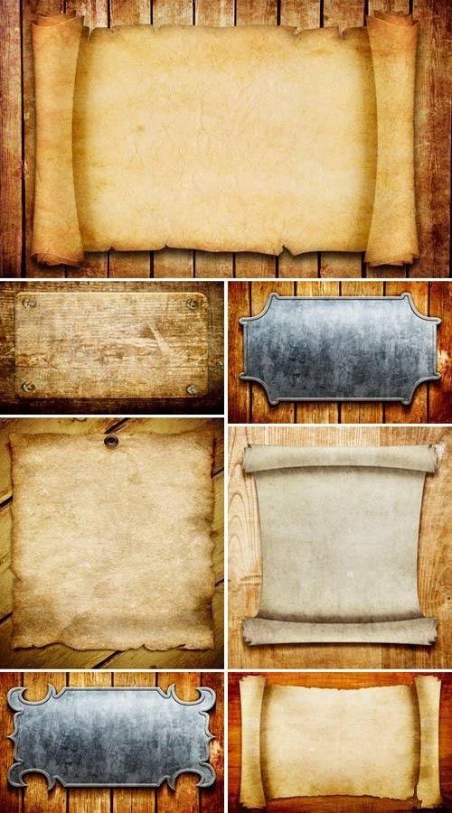 Старинные свитки и таблички на дощатых поверхностях