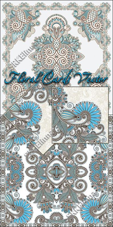 Векторные цветочные фоны - Floral Cards Vector