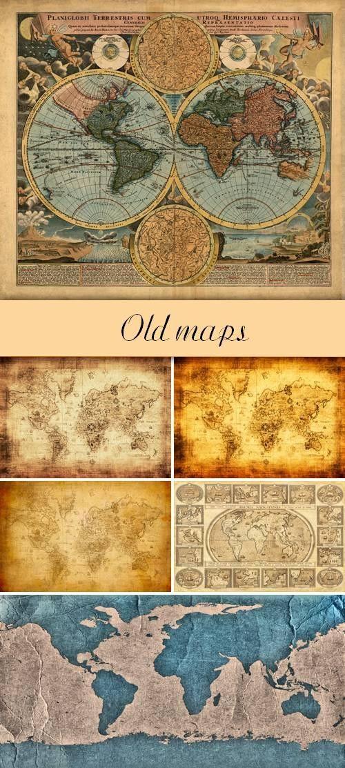 Набор фонов в виде старых карт мира