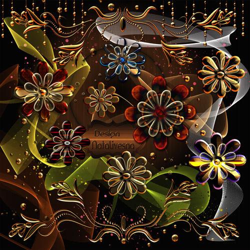 Декоративные элементы Красно - золотые Цветочки …