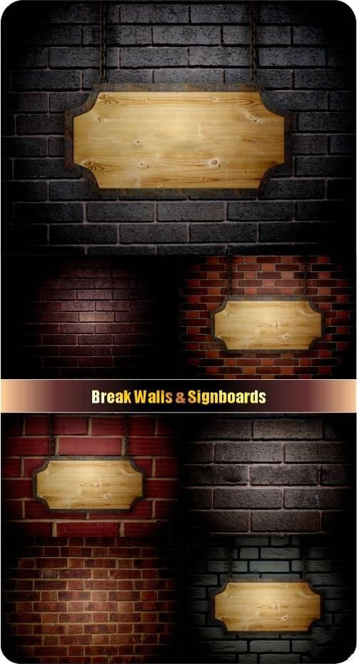 Таблички на фоне кирпичных стен - фоны