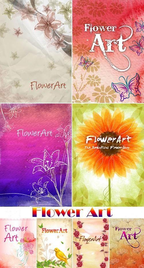 Коллекция многослойных цветочных артов в PSD