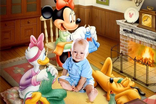 Мультяшный детский шаблон для Photoshop Микки-Маус