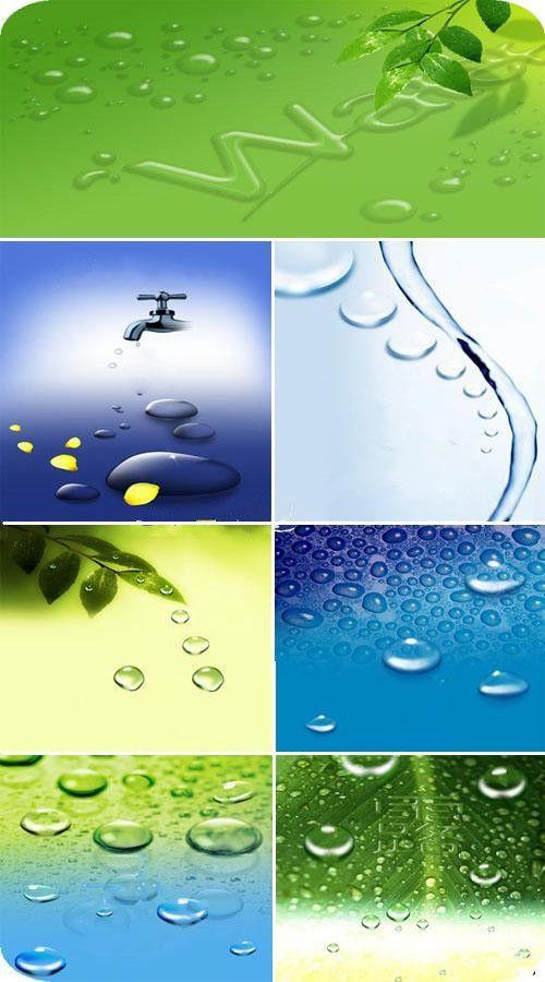 Капли на стекле и листьях (сборник многослойных PSD)
