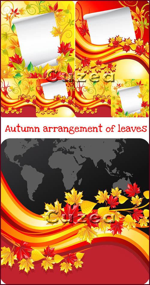 Векторный набор фонов с осенними листьями