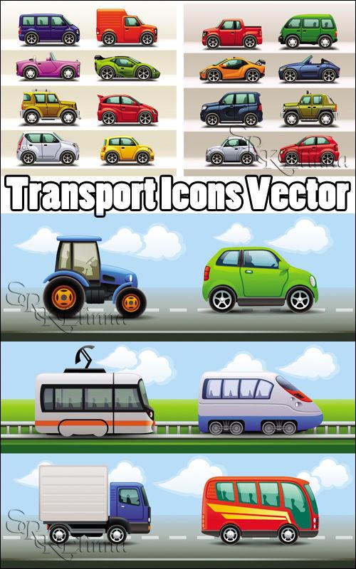 Векторные иконки - Транспорт / Transport Icons Vector