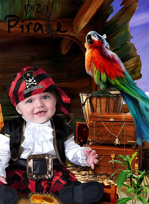 Детский шаблон для фотомонтажа Пират с добычей