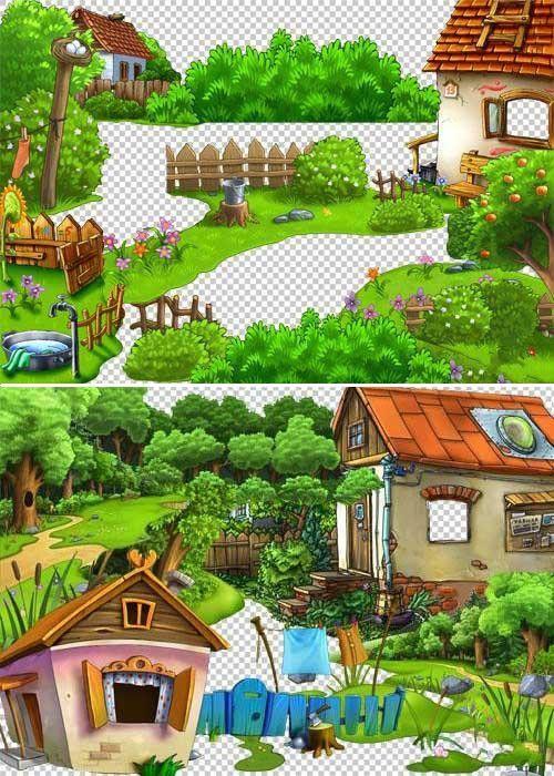 Коллекция детских деревенских и дачных пейзажей для дизайна