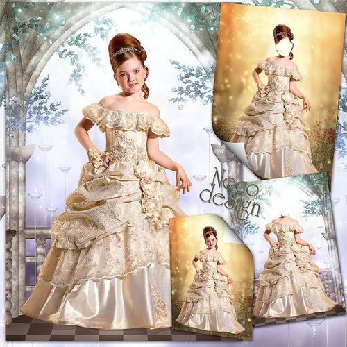Детский шаблон для девочки Пышное платье с оборками для маленькой фрейлины