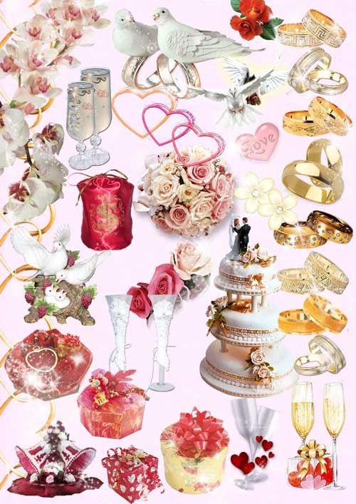 Коллекция свадебных предметов в PSD