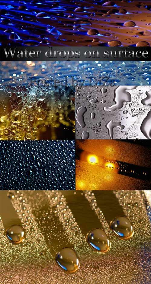 Капли воды на поверхности