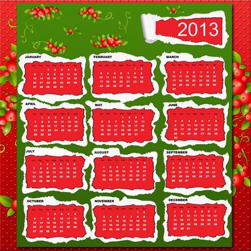 Календарь в красно-зеленом цвете на 2013 год