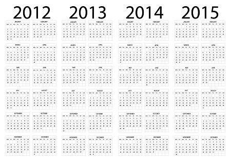 Скачайте стоковое векторное изображение Календарь с 2012 по 2015 год - 11228027 из многомилионной коллекции.