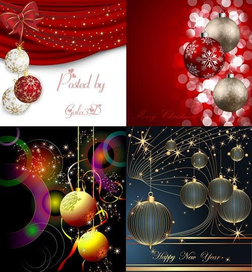 Новогодние фоны ёлочными шарами
