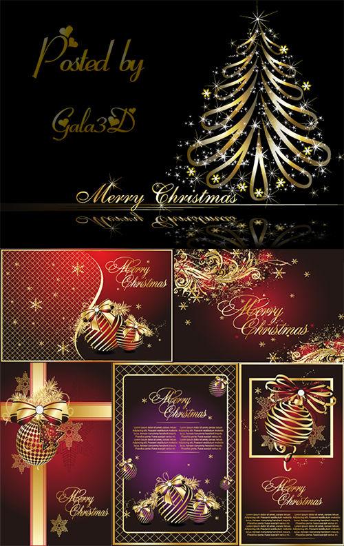 Векторные золотисые открытки