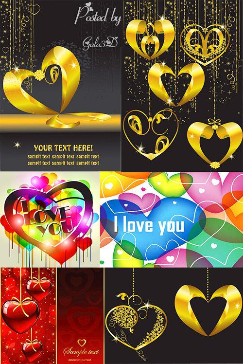 Векторные фоны  с сердцами