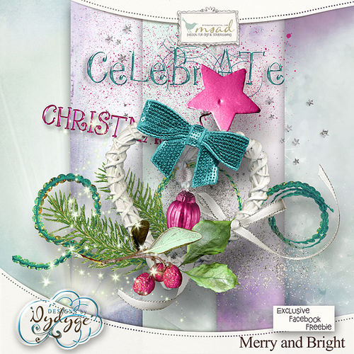 Мини скрап-набор Merry and bright + Cluster