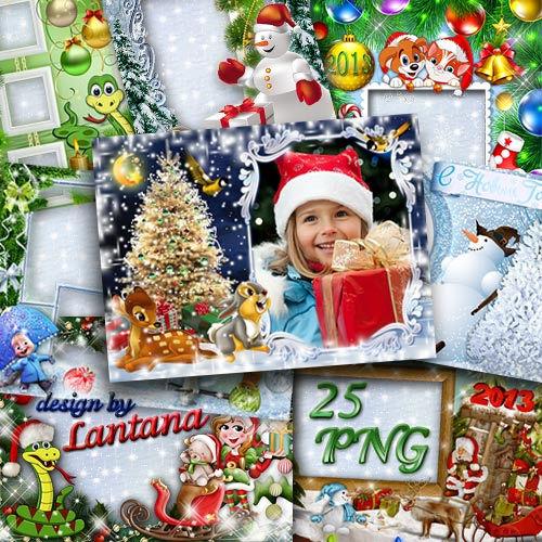 Коллекция зимних и новогодних рамочек