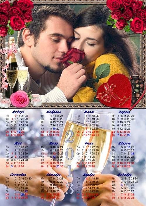 Календарь-рамка с розами