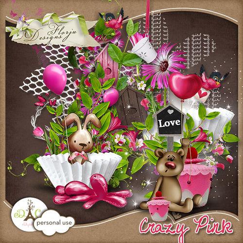 Скрап-набор  Crazy Pink