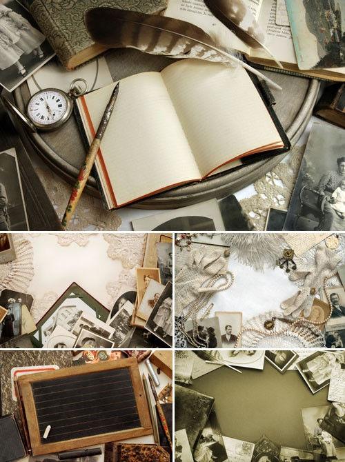 Стильные винтажные фоны с фотографиями и письменными принадлежностями