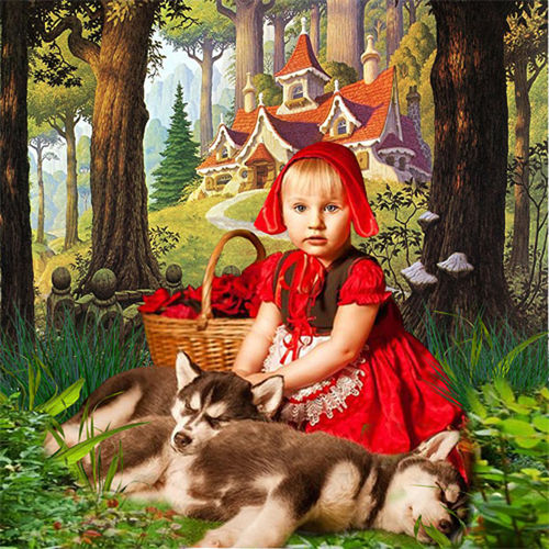 Шаблон  детский  ''Девочка с волчатами''