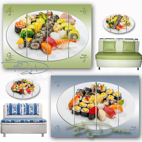 Полиптих в PSD для фотошопа - Суши и роллы радуют глаз