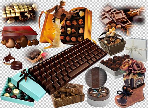 Клипарт -  Шоколад, шоколадная клавиатура (прозрачный фон)