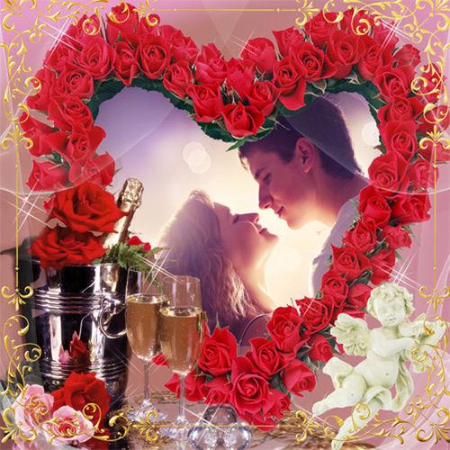 Рамка романтическая ''Сердце из роз''
