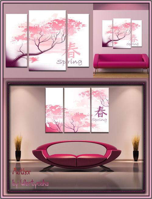 Модульная картина Триптих с японской вишней в psd формате - Чудесное цветен ...