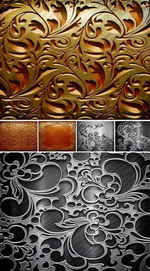 Коллекция золотых и серебряных металлических орнаментов (HQ текстуры)