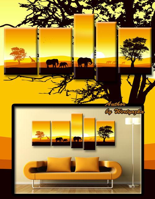 Полиптих в psd формате - Жираф, слон, закат, африка, картина