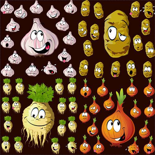 Клипарт - Овощи чеснок лук редька картофель с выражениями эмоций прозрачный ...