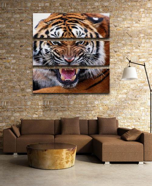Картина триптих с хищником, триптих с тигром